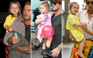 David Beckham and daughter Harper seen at a playground in Soho with Molly Sims and her son Brooks